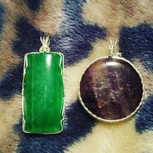 Green Onyx and Amethyst Sterling pendants