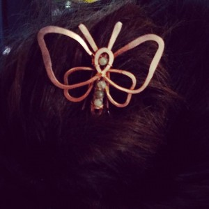 Copper and Labradorite Butterfly Hair Pin