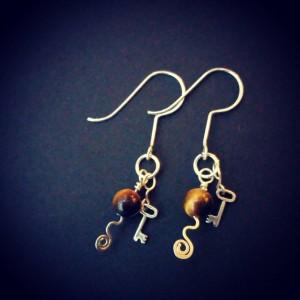 Tiger Eye and Key Drop Earrings