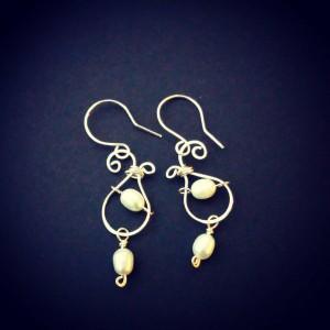 Double Pearl Drop Earrings