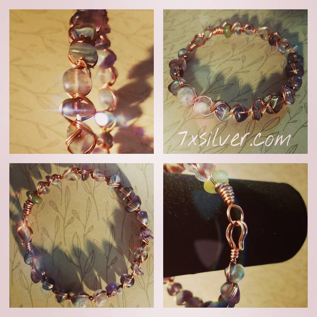 Tumbled fluorite and copper wrap bracelet