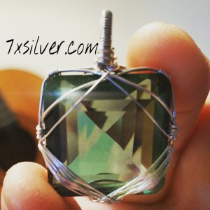 49.3 Praseolite and Sterling Pendant